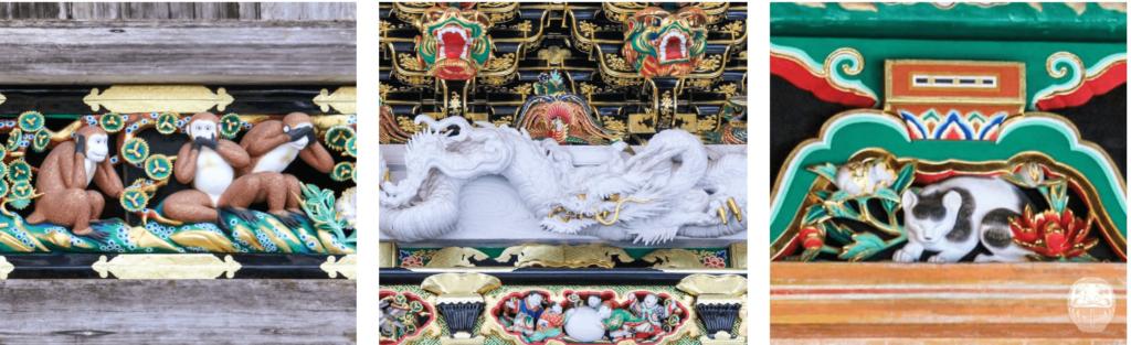 Schnitzereien am Toshogu: die drei Affen, ein hölzerner Drache und die Nemuri Neko